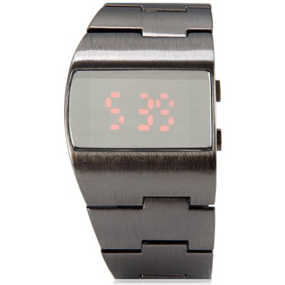 Гаджет   G1230 Rectangle Dial LED Sports Watch Date Steel Watch Band for Men Sports Watches