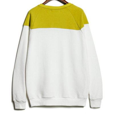 Гаджет   Casual Style Round Neck Long Sleeves Letters Print Color Splicing Slimming Men