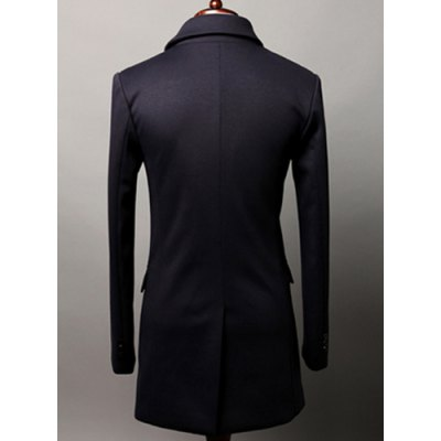 Гаджет   Stylish Lapel Slimming Solid Color Double Breasted Long Sleeve Polyester Trench Coat For Men Jackets & Coats