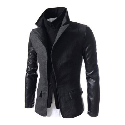 ФОТО Stylish Turndown Collar Slimming Faux Twinset PU Leather Splicing Long Sleeve Woolen Coat For Men