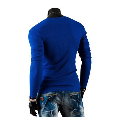 Stylish V-Neck Slimming Solid Color Button Embellished Long Sleeve Polyester T-Shirt For Men от GearBest.com INT