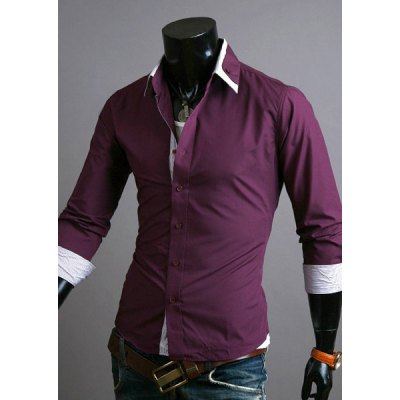 Гаджет   Stylish Shirt Collar Slimming Hit Color Stripe Splicing Long Sleeve Polyester Shirt For Men Shirts