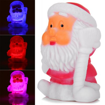 Cute Santa Claus with Broom Changing Color Light Christmas Decoration en Gearbest