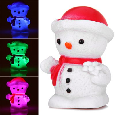 Cute Snowman Wearing Red Hat with Changing Color Light Christmas Decoration en Gearbest
