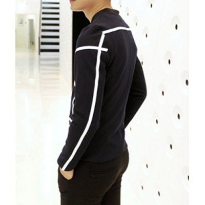 Гаджет   Casual Style Stand Collar Long Sleeves Zipper Design Personality White Welt Print Slimming Men