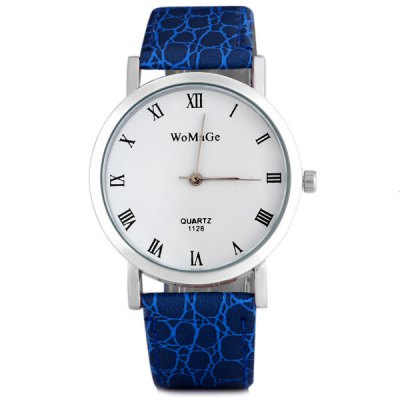 WoMaGe 1128 Male Quartz Watch Round Dial Leather Watchband Wristwatch