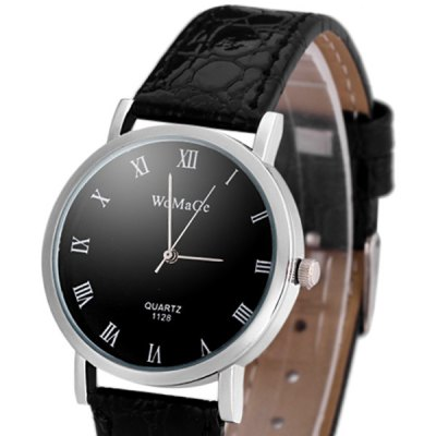 Womage 1128 Leather Watch Band Female Quartz Round Dial Watch