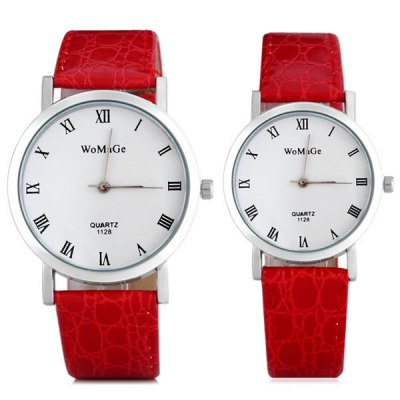 Гаджет   Womage 1128 Lovers Quartz Watch with Round Dial Leather Watch Band Couple