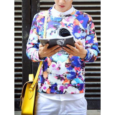 Гаджет   Casual Style Round Neck Long Sleeves Slimming Personality Floral Print Men
