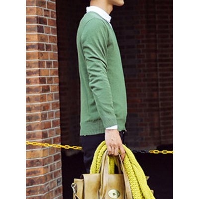 Гаджет   Casual Style V-Neck Slimming Long Sleeves Solid Color Men
