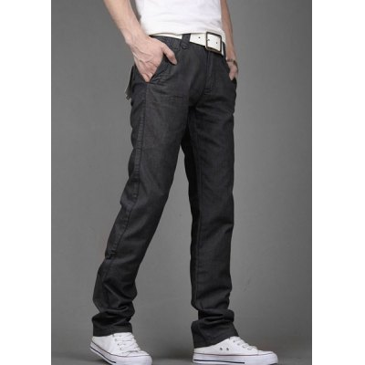 Гаджет   Casual Style Zipper Fly Straight Leg Slimming Solid Color Men