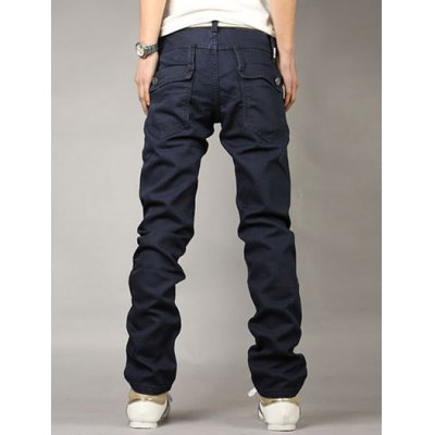 Гаджет   Casual Style Zipper Fly Straight Leg Slimming Solid Color Personality Button Embellished Men