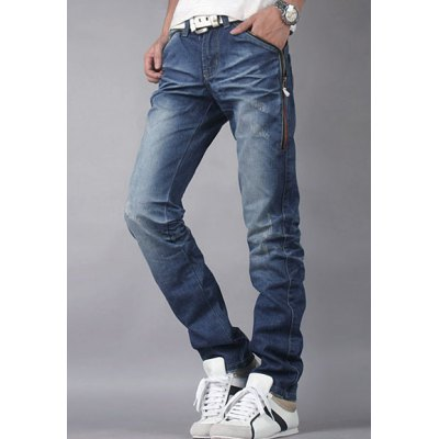 Гаджет   Casual Style Slimming Zipper Fly Straight Leg Bleach Personality Zipper Embellished Men