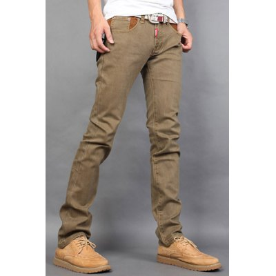 Гаджет   Casual Style Slimming Zipper Fly Straight Leg Personality Color Splicing Waist Men