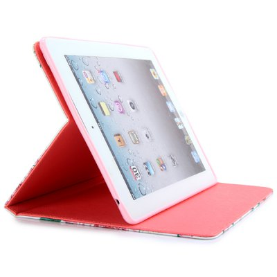 Гаджет   Stand Design PU and Silicone Material Cover Case with Pink Rose Pattern and Lanyard Hole for iPad 2 3 4 iPad Cases/Covers