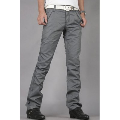 Гаджет   Casual Style Zipper Fly Slimming Straight Leg Solid Color Men