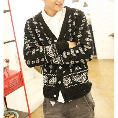 Гаджет   Casual Style V-Neck Personality Floral Print Slimming Long Sleeves Men