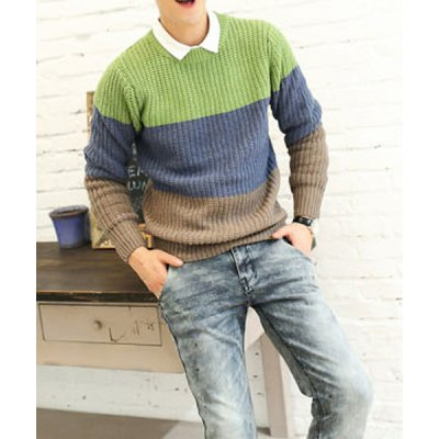 Гаджет   Casual Style Round Neck Slimming Long Sleeves Color Block Thicken Men