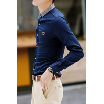 Гаджет   Casual Style Turn-down Collar Knitting Design Color Block Long Sleeves Slimming Personality Embroidery Print Men