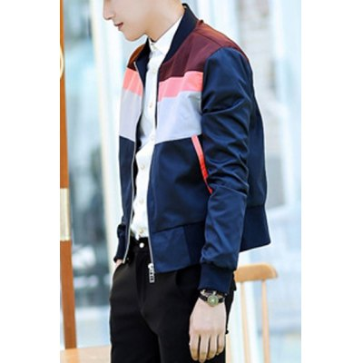 Гаджет   Casual Style Stand Collar Long Sleeves Personality Color Block Zipper Design Slimming Men