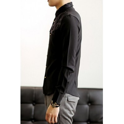 Гаджет   Casual Style Turn-down Collar Long Sleeves Solid Color Slimming Personality Embroidery Floral Print Metal Button Men