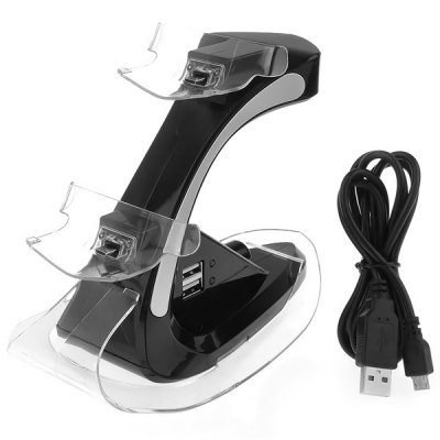 Portable ZJ09 Airplane Model Style Dual Charger Stand for PS4  -  Black