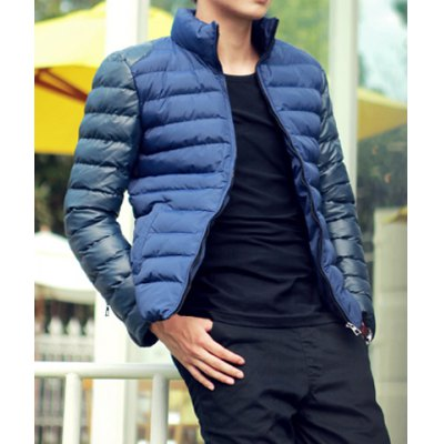 Гаджет   Simple Style Stand Collar Color Splicing Slimming Zipper Embellished Long Sleeves Men