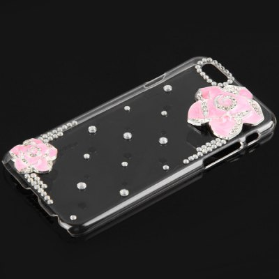 ФОТО Fashionable Transparent Plastic Material Back Cover Case with Dual Rose Pattern and Diamond Design for iPhone 6 4.7 inch Screen