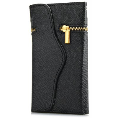 Zipper Design Artificial Leather and Plastic Material Cover Case with Card Holder for iPhone 5C