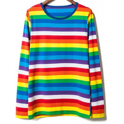 Stripe Casual Style Round Neck Long Sleeves Personality