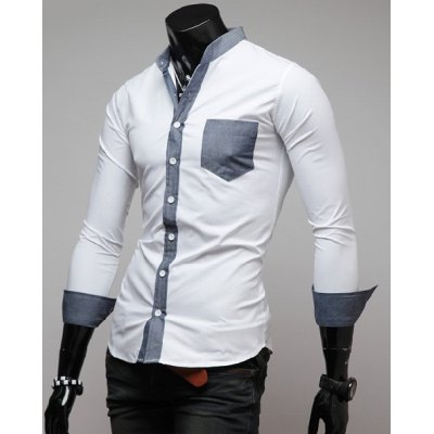 Гаджет   Casual Style Long Sleeves Slimming Stand Collar Color Block Men