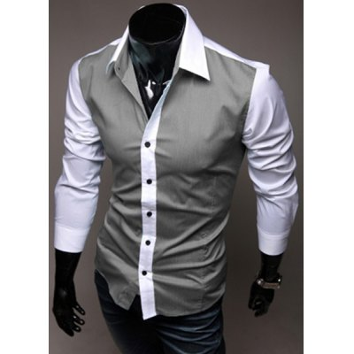 ФОТО Stylish Shirt Collar Slimming Color Block Splicing Long Sleeve Cotton Shirt For Men