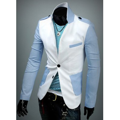 Stylish Lapel Slimming Hit Color Splicing Large Pockets Long Sleeve Cotton Blazer For MenMens Blazers<br>Stylish Lapel Slimming Hit Color Splicing Large Pockets Long Sleeve Cotton Blazer For Men<br><br>Material: Cotton, Polyester<br>Clothing Length: Regular<br>Closure Type: Single Breasted<br>Weight: 1KG<br>Package Contents: 1 x Blazer