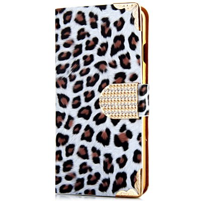 Artificial Leather and Plastic Material Leopard Print Design Cover Case with Card Holder and Lanyard for iPhone 6 4.7 inch Screen