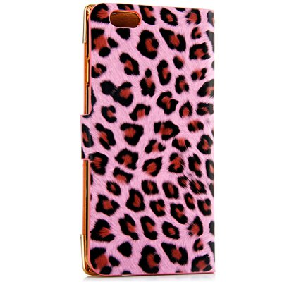 ФОТО Artificial Leather and Plastic Material Leopard Print Design Cover Case with Card Holder and Lanyard for iPhone 6 4.7 inch Screen