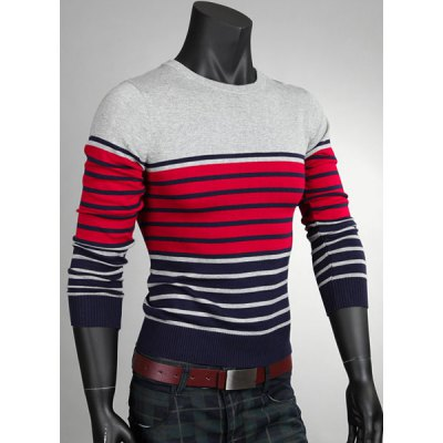ФОТО Colorful Stripes Print Slimming Color Splicing Round Neck Fashion Design Long Sleeves Men