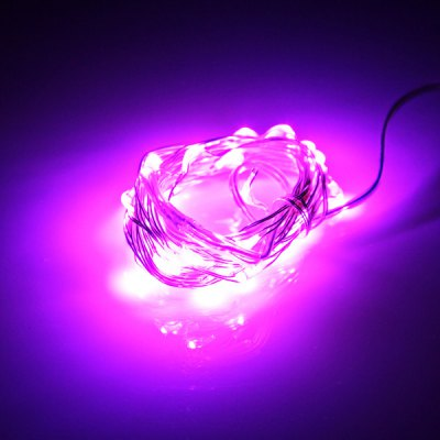 30 – LED 4.5V Purple Light Battery Operated Fairy String Light Christmas Light for Party  –  Silver 3 Meters en Gearbest