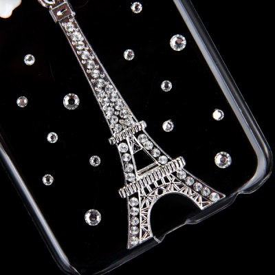 ФОТО Fashionable Transparent Plastic Material Back Cover Case with Flower and Tower Pattern and Diamond Design for iPhone 6 4.7 inch Screen