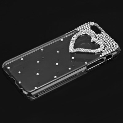 ФОТО Fashionable Transparent Plastic Material Back Cover Case with Heart Pattern and Diamond Design for iPhone 6 4.7 inch Screen