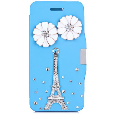 ФОТО Fashionable Plastic and PU Material Cover Case with Flower and Tower Pattern and Diamond Design for iPhone 6 4.7 inch Screen