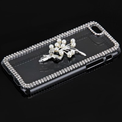 ФОТО Fashionable Transparent Plastic Material Back Cover Case with Bouquet and Bead Pattern and Diamond Design for iPhone 6 4.7 inch Screen
