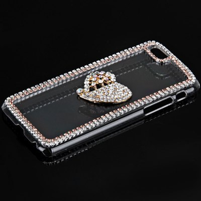 ФОТО Fashionable Transparent Plastic Material Back Cover Case with Hollow Heart Pattern and Diamond Design for iPhone 6 4.7 inch Screen
