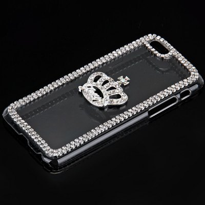 ФОТО Fashionable Transparent Plastic Material Back Cover Case with Crown Pattern and Diamond Design for iPhone 6 4.7 inch Screen