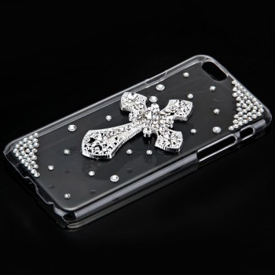 ФОТО Fashionable Transparent Plastic Material Back Cover Case with Cross Pattern and Diamond Design for iPhone 6 4.7 inch Screen