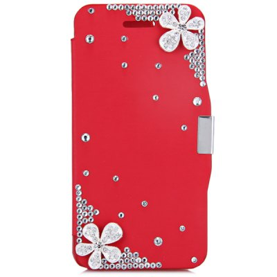 ФОТО Fashionable Plastic and PU Material Cover Case with Dual Flowers Pattern and Diamond Design for iPhone 6 4.7 inch Screen
