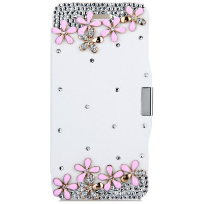 ФОТО Fashionable Plastic and PU Material Cover Case with Ten Flowers Pattern and Diamond Design for iPhone 6 4.7 inch Screen