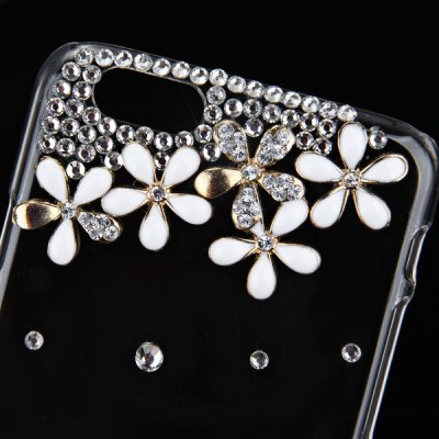ФОТО Fashionable Transparent Plastic Material Back Cover Case with Ten Flowers Pattern and Diamond Design for iPhone 6 4.7 inch Screen