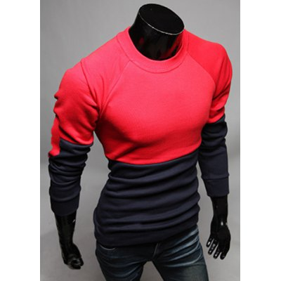 ФОТО Stylish Round Neck Slimming Color Block Splicing Long Sleeve Cotton T-Shirt For Men