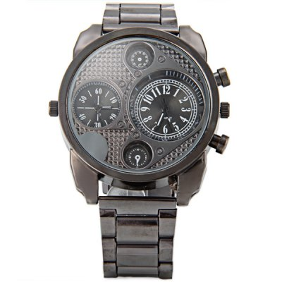 Гаджет   Jubaoli 8002 Male Quartz Watch Double Showes Round Dial Decorative Non - functioning Sub - dials Steel Strap Men