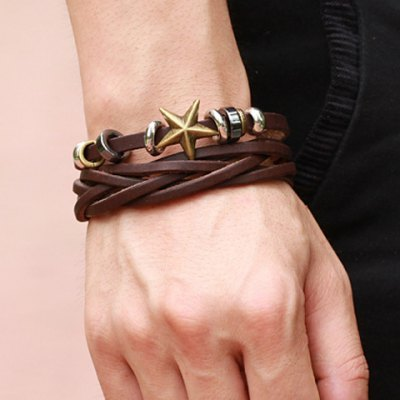 Chic Star Decorated Layered Leather Chain Bracelet For Men